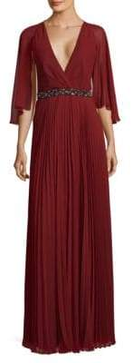 Laundry by Shelli Segal Cape Chiffon Pleated Gown