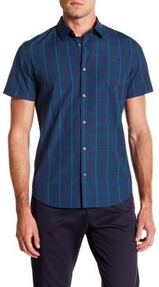 Calvin Klein Short Sleeve Windowpane Print Woven Shirt