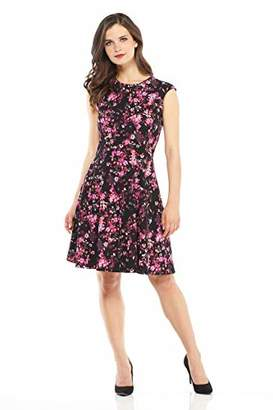 London Times Women's Petite Cap Sleeve Round Neck Crepe FIT and Flare Dress