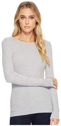 Three Dots Viscose Rib Long Sleeve Crew Neck Women's Long Sleeve Pullover