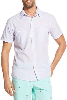 Izod Dockside Chambray Mens Short Sleeve Button-Front Shirt