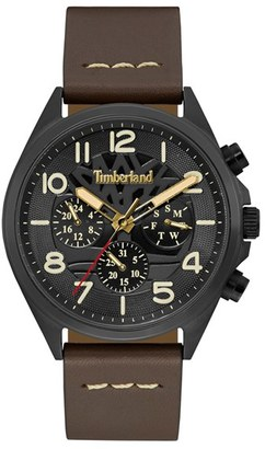 Timberland 'Bartlett Ii' Multifunction Leather Strap Watch, 48Mm $179 thestylecure.com