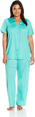 Vanity Fair Women's Plus Size Coloratura Sleepwear Short Sleeve Pajama Set 90807