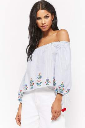 Forever 21 Embroidered Pinstripe Off-The-Shoulder Top