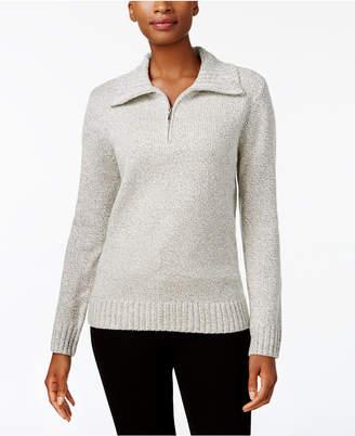 Karen Scott Mock-Neck Quarter-Zip Sweater, Created for Macy's