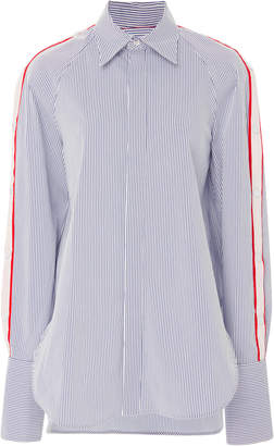 Monse Raglan Snap Sleeve Stripe Cotton Poplin Shirt