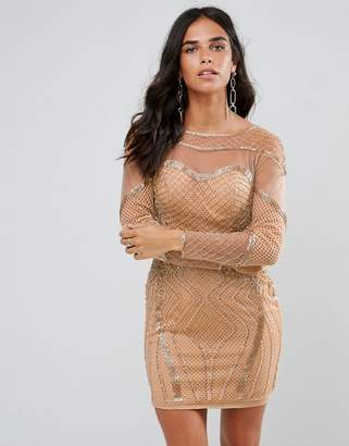 Forever Unique Long Sleeved Embellished Bodycon Dress