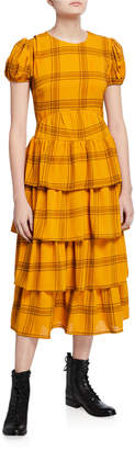 ENGLISH FACTORY Plaid Puff-Sleeve Tiered Maxi Dress