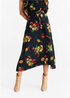 MANGO Flowers Midi Skirt