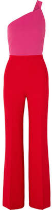 Roland Mouret One-shoulder Two-tone Wool-crepe Jumpsuit - Red