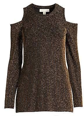 MICHAEL Michael Kors Women's Sparkle Stripe Cold Shoulder Top