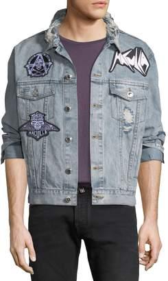 Neiman Marcus Haculla Men's Light-Wash Denim Patched Jacket