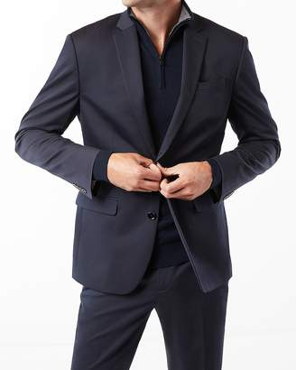 Express Classic Navy Cotton Sateen Suit Jacket