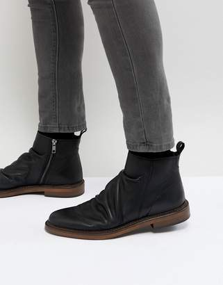 WALK LONDON Walk London Leather Zip Boots In Black