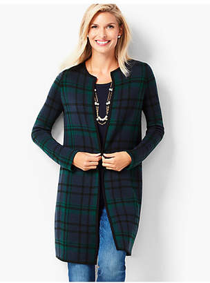 Talbots Black Watch Plaid Open-Front Merino Cardigan