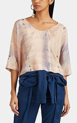 df0a0eab79ec46 Raquel Allegra Women s Tie-Dyed Washed Silk Voile Popover T-Shirt