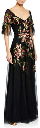 Marchesa V-Neck Half-Sleeve Floral Embroidered Tulle A-Line Gown