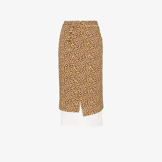 09dab0048f REJINA PYO leopard print high-waisted double layer cotton skirt