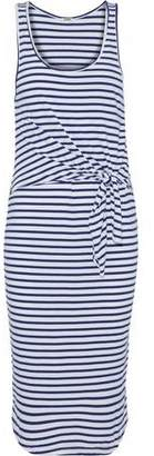 Monrow Tie-Front Striped Cotton And Modal-Blend Dress