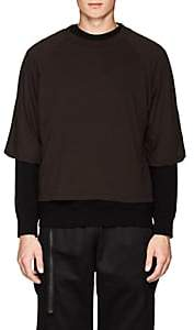 Taverniti So Ben Unravel Project Men's Layered Cotton Jersey & Fleece Sweatshirt - Dk. brown