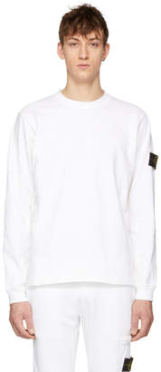 Stone Island White Long Sleeve Arm Badge T-Shirt
