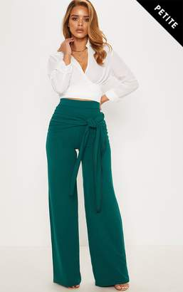 PrettyLittleThing Petite Emerald Green Tie Front Wide Leg Trousers