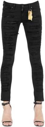 Skinny Studded Destroyed Denim Jeans