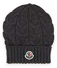 Moncler Kids' Cable-Stitch Wool Beanie - Charcoal