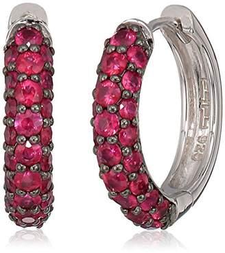 Effy Womens 925 Sterling Silver Ruby Hoop Earrings