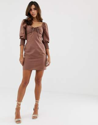 Asos Design DESIGN sweetheart neck mini dress with shirred cuffs