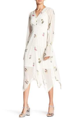 Rachel Roy Long Sleeve Printed Chiffon V-Neck Dress