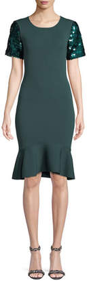 Sachin + Babi Misha Sequin-Sleeve Bodycon Knit Cocktail Dress