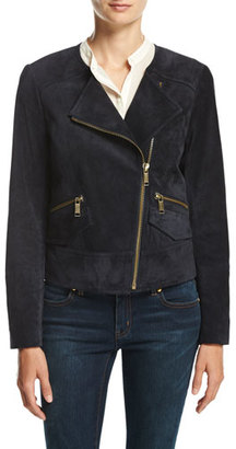 MICHAEL Michael Kors Suede Moto Jacket, New Navy $525 thestylecure.com