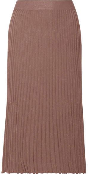 Prada - Metallic Ribbed-knit Midi Skirt - Antique rose