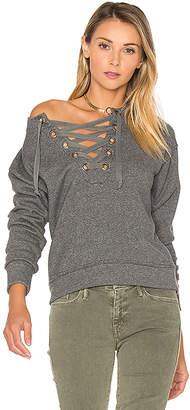 MOTHER The Tie Up Easy Sweatshirt in Grey $158 thestylecure.com