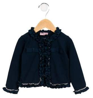 MonnaLisa Girls' Embellished Ruffle-Trimmed Cardigan