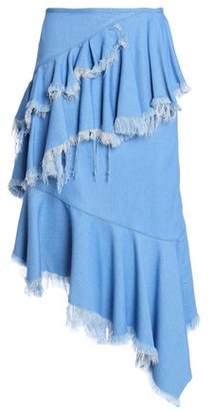 Marques Almeida Marques' Almeida Asymmetric Frayed Ruffled Denim Skirt