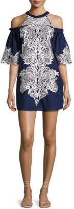 Parker Samantha Cold-Shoulder Embroidered Shift Dress, Blue Multi $478 thestylecure.com