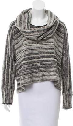 Yigal Azrouel Leather Trimmed Wool-Blend Sweater
