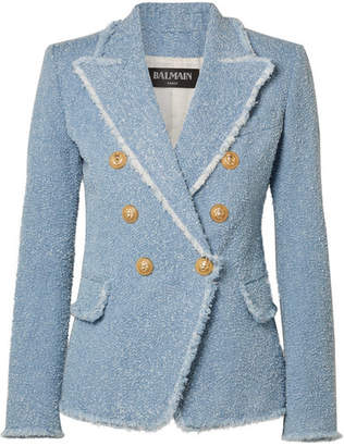 Balmain Double-breasted Cotton-blend Bouclé-tweed Blazer - Light blue