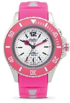 Neon Silicone and Stainless Steel Strap Watch/40MM