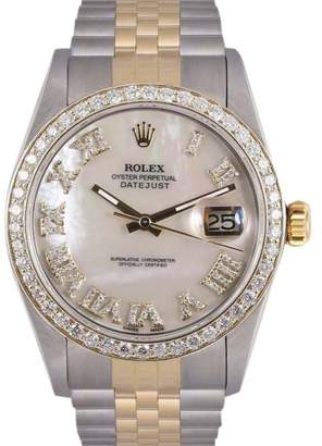 Rolex Datejust Stainless Steel & 18K Yellow Gold Mother Of Pearl Roman Dial wDiamonds 36mm Mens Watch