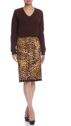 Dresscamp (ドレスキャンプ) - DRESSCAMP チェリーヘム レオパード柄 スカート ブラウン 36