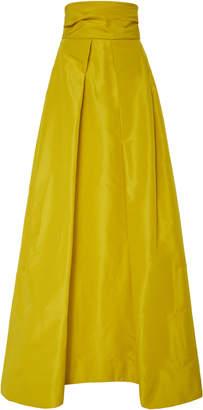 Monique Lhuillier Pleated A-Line Silk-Faille Skirt