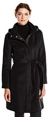 Ellen Tracy Outerwear Women's Belted Wool-Blend Coat with Hood $113.04 thestylecure.com