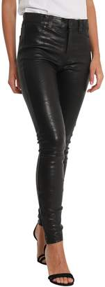 J Brand Leather Skinny Pants With Zipper At Hem
