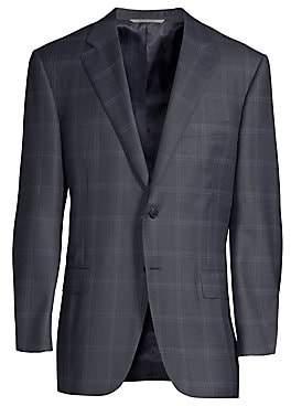Canali Men's Classic-Fit Wool Windowpane Sportcoat