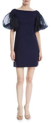 Chiara Boni Audelle Organza Puff-Sleeve Mini Dress