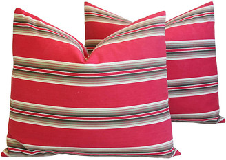 One Kings Lane Vintage Red French Ticking Striped Pillows - Set of 2