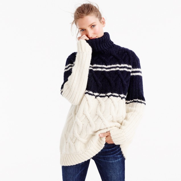 J.Crew J.Crew for NET-A-PORTER® striped cable turtleneck sweater